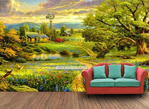 VVBIHUAING 3D Wand Tapete Aufkleber Wandbilder Dekorationen Europäischer Und Amerikanischer Ländlicher Bauernstil Dekoration Kunst Kinder Schlafzimmer (W) 400x(H) 280cm
