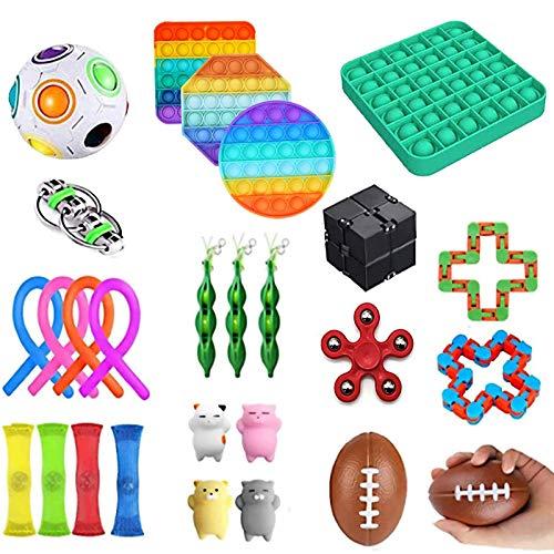 MerryWould 27 Piezas Fidget Toy Packs, Set De Juguetes Sensoriales Fidget Baratos con Simple Dimple Pop Bubble Infinite Cube Stress Ball y Anti Stress Relief Toy Stress Ball