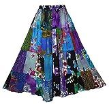 Generisch Achiya - Falda larga para mujer, estilo hippie bohemio, patchwork, cintura elástica, con rayón, Color: 17., Talla única