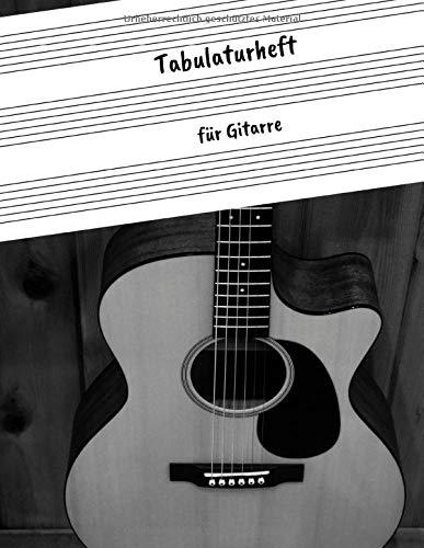 Tabulaturheft für Gitarre: Guitar Tab Block mit leeren Tabulaturlinien und Akkorddiagrammen | 108 Seiten inkl. Inhaltsverzeichnis | Geschenkidee für Gitarristen