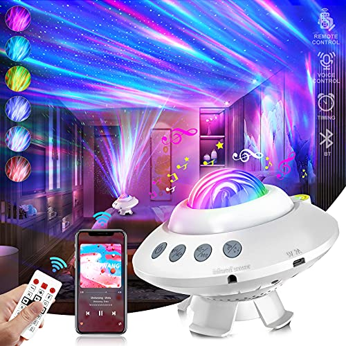 Star Galaxy Night Light Projector for Kids Room Aurora Lights Projector with Remote Control Bluetooth Music Speaker Timing Northern Lights Projector Lamps for Baby Adults Gift Decor Bedroom Ceiling