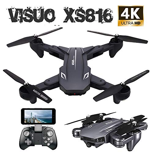 VISUO XS816 Foldable Drone with 4k Camera for Beginners,One Key Off/Landing, APP Control