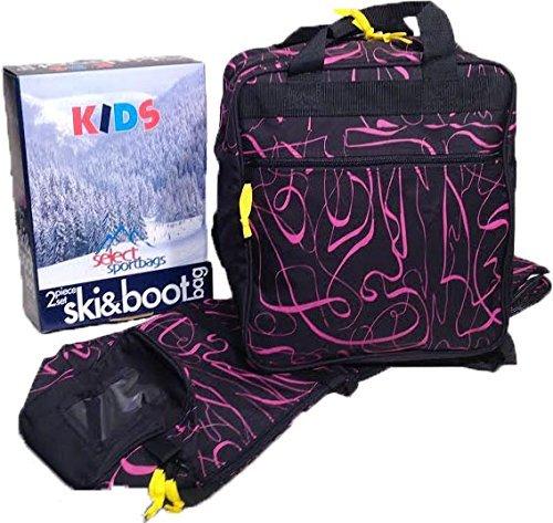Select Sportbags Kids Ski Bag and Boot Bag Set - Pink Print