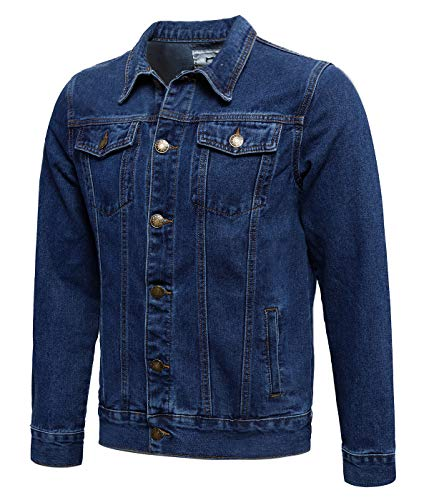 Zoroley Mens Denim Jacket Casual Jeans Washed Coat Western Classic Style Vintage Trucker Cotton Long Sleeve Button Down Outwear Tops