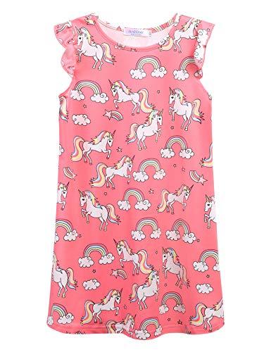 Bricnat Mädchen Nachthemden Einhorn Pferd Kurzarm Kleid Nachthemd Nachtwäsche Nachtkleid Kinder Nightdress Sleepwear Sommer 110