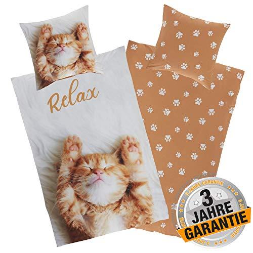 Aminata Kids Coole Bettwäsche Katze 135 x 200 cm + 80 x 80 cm aus Baumwolle mit Reißverschluss, Katzen-Motiv, Kater, weich und kuschelig, in weiß, braun, Wende-Bettwäsche-Set, Katzen-Fan