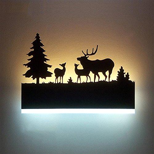 Augrous Wandlampe LED Oben und Nieder Innenleuchte Eisen Licht Karosserie Hirsch Design Wandlampe zum Bar Flur Dekoration, 12W