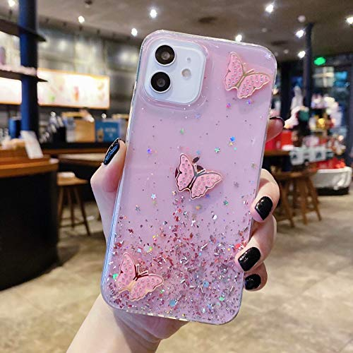 Miagon Crystal Glitzer Hülle für Samsung Galaxy A11/M11,Soft Slim Silicone Protective Cute Clear Sparkly Bling Butterfly Bumper Case for Girls Women,Schmetterling Rosa