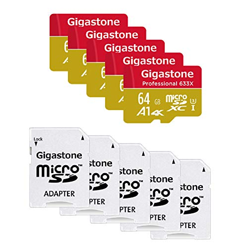 Gigastone 64GB 5-Pack Micro SD Card, Professional 4K Ultra HD, High Speed 4K UHD Gaming, Micro SDXC UHS-I U3 C10 Class 10 Memory Card with Adapter