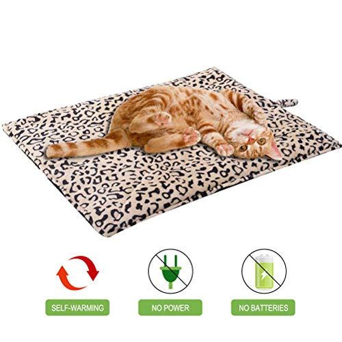 EXPAWLORER Self Heating Cat Pad for Pet, Warming Pet Bed Mat Safety Cat Pad with Leopard Print Great for Puppies and Cats in Cold Weather, Beige