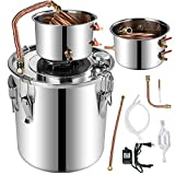 Stainless Steel Water Alcohol Distiller for Gin Whisky Wine Brandy Making Copper Tube Home Brew Wine Making Kit with Build-in Thermometer 3 Gallon 12L Spirits Boiler for Beginners Experts (3Gal)