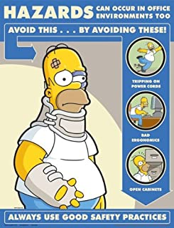 Simpsons Office Safety Poster - Hazards In Office Environment