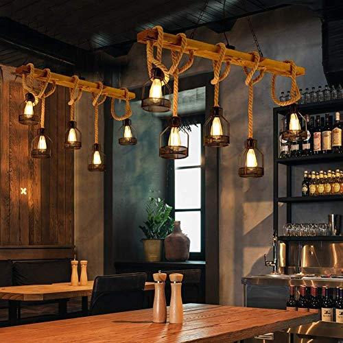 Kaper Go Lámpara De Araña Retro, 5 Luces Lámpara De Viento Industrial Retro Estadounidense Personalidad Tienda De Ropa Escaparate Creativo Barra De Cuerda De Cáñamo Café De Internet Lámpara De Bar