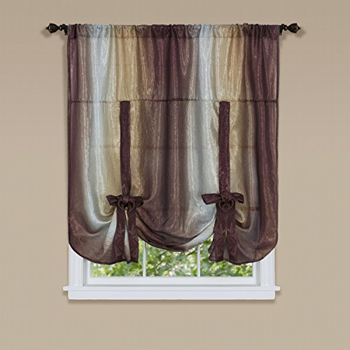 Achim Home Furnishings, Chocolate Ombre Tie Up Curtains, 50 by 63-Inch