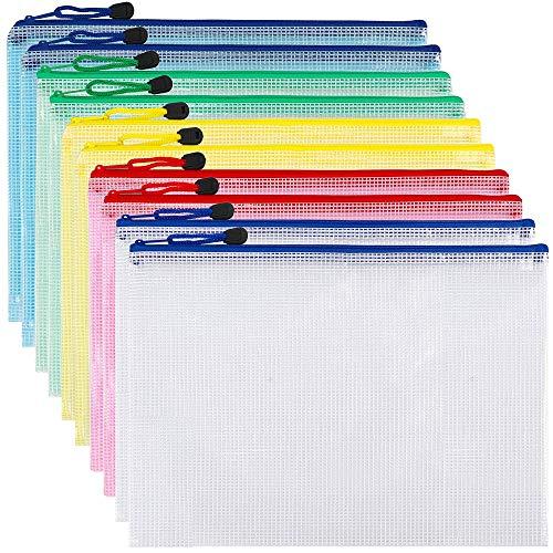 FunkyMouse メッシュファイルバッグ 10個 クリアファイル メッシュケース a4 連絡袋 ジッパー式ファイル袋 防水 領収書 ファイル オフィス用品 おもちゃ 旅行用品 化粧品 書類 整理収納