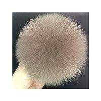 ニット帽子キャップ冬ビーニーとキーホルダーとスカーフフォックスファーポンポン、カーキのためのDIYフォックスファーポンポンズファーボール1