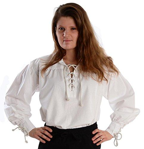 HEMAD Kragen-Schnürbluse Piraten-Bluse Reine Baumwolle weiß XL