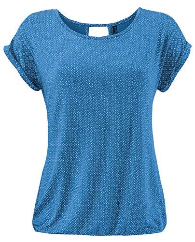 Fleasee Damen T-Shirt Rundhals Kurzarmshirt mit Allover Druck Sommer Bluse Casual Top, Blau, XXL