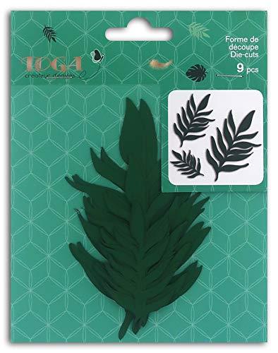 Toga Bladvormen Die-Cuts, Papier, Groen, 3 verschillende maten: 3,5 x 6 cm/4,5 x 8 cm/6 x 1 cm