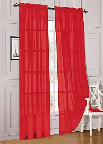 """Jasmine Linen 2 Piece Sheer Luxury Curtain Panel Set for Kitchen/Bedroom/Backdrop 84"""" Inches Long (Red)"""