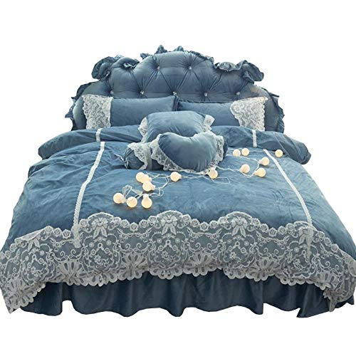 Shinon duvet cover sets,Winter thick duvet cover bed skirt plus fleece double-sided flannel bedding four-piece set-A_1.8m bed (4 pieces)