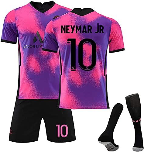 SXMY Männer/Jungen Fußball Jersey Uniform, Mbappe Neymar Jr Di Maria, 2020~2021 (vierter) Jersey-Anzug, Fan-Geschenk(Size:Small,Color:Backn10)