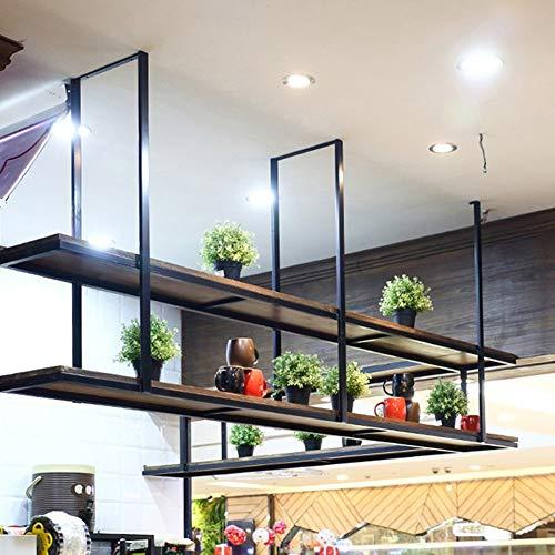 ZLP drijvende rekken, wandrek, smeedijzer, massief hout, vintage, plank voor plafond, kleerhangers 100 × 30 × 80 Cm