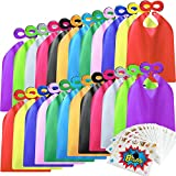 Kidsfere Superhero Capes and Masks for Kids Boys Girls 24 sets with Stickers Decoration for Super hero themed Birthday Party or Class Activity - 24 Capes, 24 Masks, 24 Big Stickers, 288 Small Stickers