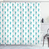 Lunarable Nautical Shower Curtain, Seahorse Pattern Exotic Underwater Animal in Pastel Watercolors Aquatic Life, Cloth Fabric Bathroom Decor Set with Hooks, 75' Long, Turquoise White