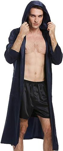 LILYSILK Peignoir Homme à Capuche en Soie Robe de Chambre 100% Soie Peignoir Classique Ceinture Poches Doux Luxe 22MM