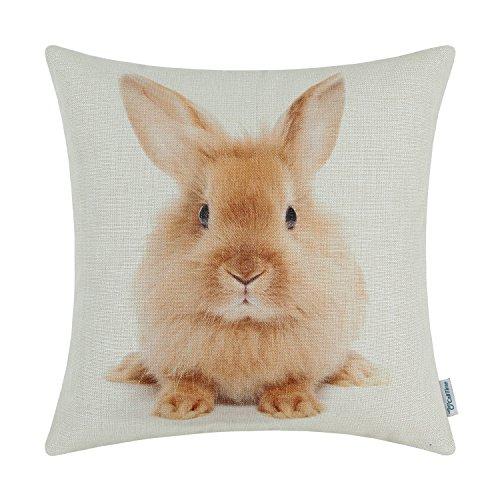 CaliTime Leinwand Dekokissen Hülle für Couch Sofa Dekoration Tiere Theme Druck 45 cm x 45 cm Kaninchen