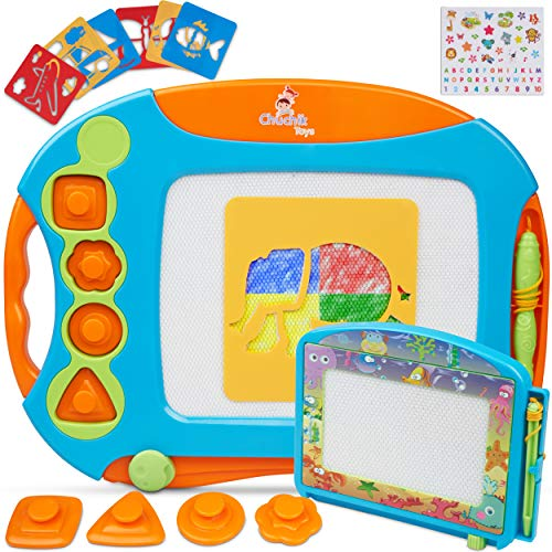CHUCHIK Toys Magnetic Drawing Board Set for Kids and Toddlers. Large 15.7 Inch Magna Doodle Writing Pad Comes with a 4-Color Travel Size Sketch Doodle Board. (Orange-Blue)