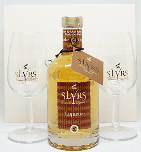 Slyrs Likör Adalung Geschenkschatulle mit Slyrs Likör 350 ml. und 2 Gläsern
