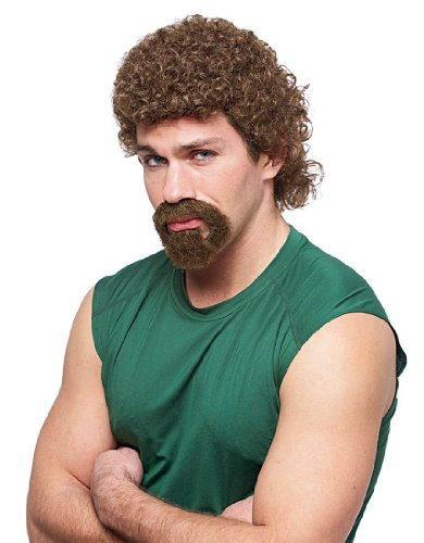MyPartyShirt Kenny Powers Brown Mullet Wig and Beard Combo