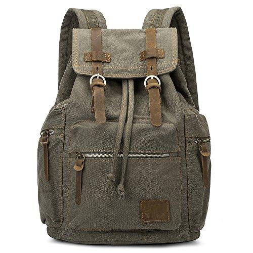 JQXB Canvas Rucksäcke, Vintage Leinwand Laptop Rucksäcke, robuste leichte Outdoor-Wandern Reisen Daypacks Student Büchertaschen für Männer und Frauen,Green