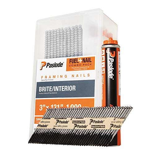 Paslode, Framing Nails and Fuel Pack, 650525, 3 inch x .131 Gauge, Smooth Brite, 1 Fuel Cell and 1,000 Nails