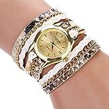 Mode und einzigartige Uhr Geflochtene Wickel Wrap Leopard Armbanduhr Quarz Armbanduhr für Frauen