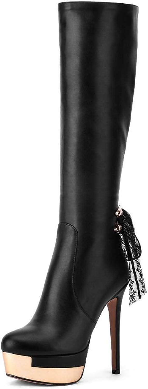 SaraIris Thin Heel Zipper Lace Platform Mental Decoration Knee-High Boots for Women