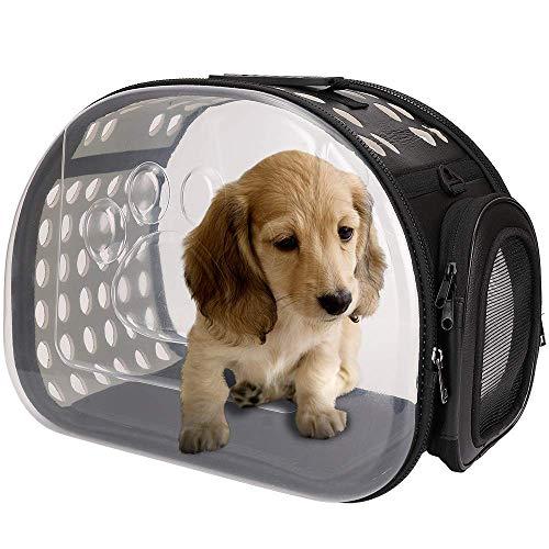 Freenfitmall Transportador para mascotas pequeñas, portador de gatos, portadores de mascotas portátiles, bolsa de viaje plegable para perros y gatos con cremalleras de seguridad de bloqueo (L,Negro)