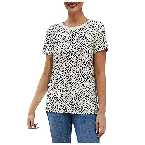 Best Prices! Women's Leopard Camouflage Print Short Sleeve Shirt Slim Fit Tops Ladies Blouse