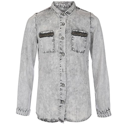 Geisha meisjes denim blouse Light Grey 83026K