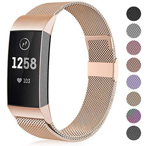 Funbiz Compatible con Fitbit Charge 3 Correa/Fitbit Charge 4 Correa, Banda de Reemplazo Ajustable Acero Inoxidable Correas para Fitbit Charge3/Charge 4/Charge 3 SE, Grande Oro Real
