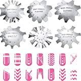 6 Pieces Nail Manicure Edge Trimmer Diy Plate Module, Stainless Steel Easy French Smile Line Gel Cutter Tool, Nail Acrylic Tool Kit (6 Patterns)