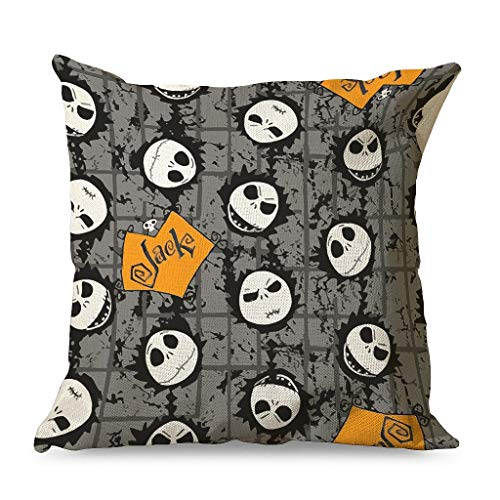 Xuanwuyi Jack Face Nightmare Before Christmas Halloween Pillowcase 16x16 18x18 20x20 Inch for Living Room Square White Simple Style white 45x45cm
