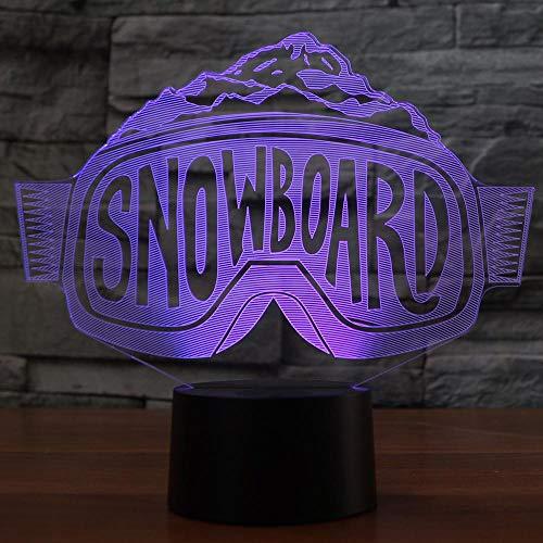 Kreative 3D Tischlampe LED Skibrille Nachtlicht Gradienten Dekoration Snowboard Beleuchtung Weihnachtsgeschenk