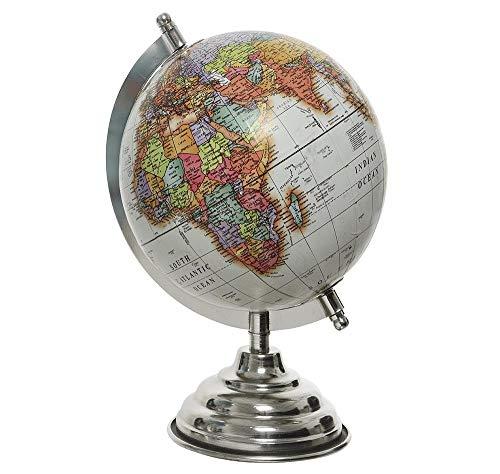 zeitzone Globus Weiß Weltkugel mit Ständer Standglobus Geografische Karte Ø 16cm