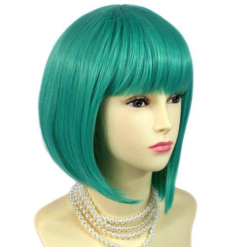 Fabuleuse Perruque Vert Jade Style Carré Plongeant Résistante à la chaleur Costume