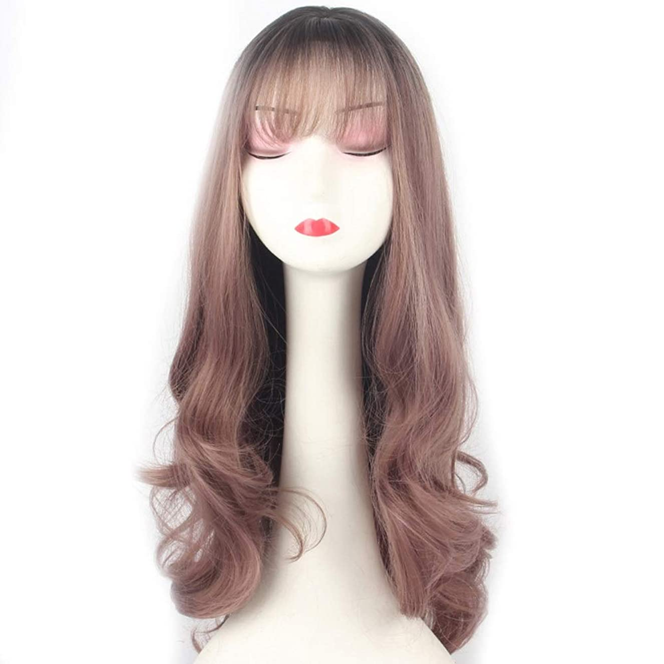 立派な教える誘惑するIsikawan 女性のための空気前髪付きかつら長い巻き毛の自然なふわふわの気質カールデイリードレスグラデーション細いつる紫色 (色 : Gradient thin vine purple)