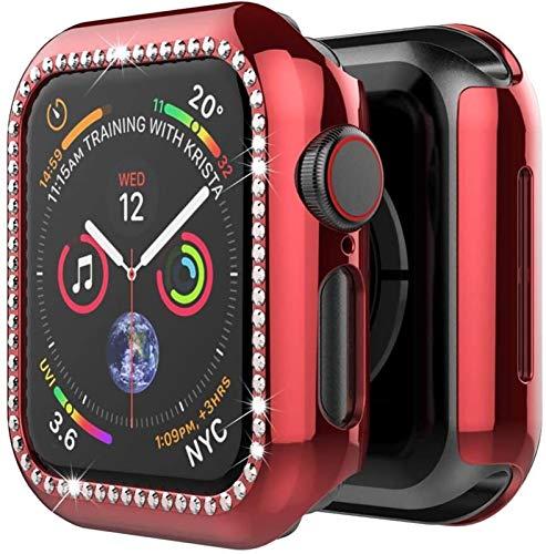 KAAGGF Bling Soft TPU Diamond Bumper Funda Protectora para la Cubierta de la Cubierta del Reloj de Apple 6 SE 5 4 3 2 1 38mm 42mm Casos para iWatch 40mm 44mm