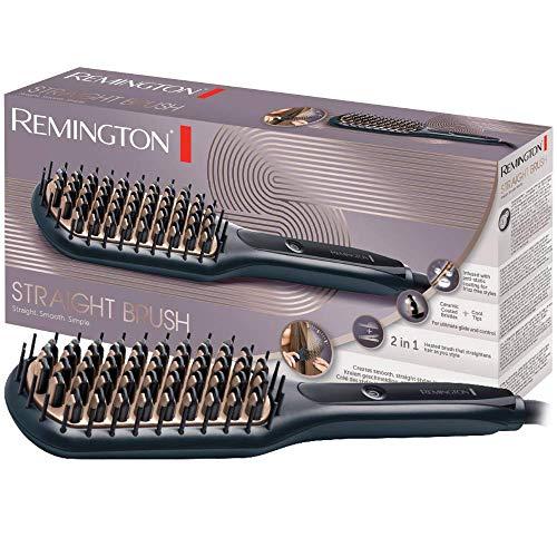 Remington Glättbürste 2in1: Glätteisen & Haarbürste für eine reduzierte Stylingzeit (Keramikbeschichtete & antistatische Borsten mit kühlen Enden, Digitales...